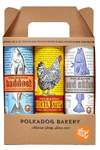 Dog Polka Bakery (Polka Dog Bakery Surf & Turf 3-Pack, Chicken Strips, Cod Skins And Haddock, Made In Usa)