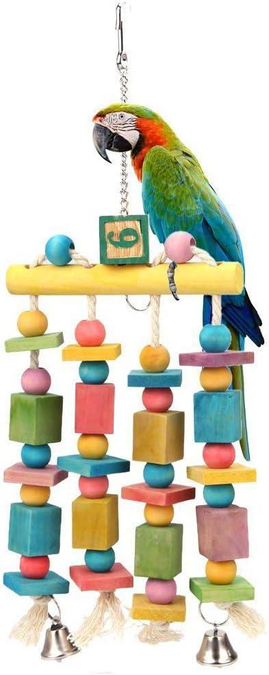 XDYFF Juguetes Loros Columpio Loros Escalera Loro Masticar Juguete De Madera Pulido Juguete Soporte Jaula Accesorios: Amazon.es: Productos para mascotas