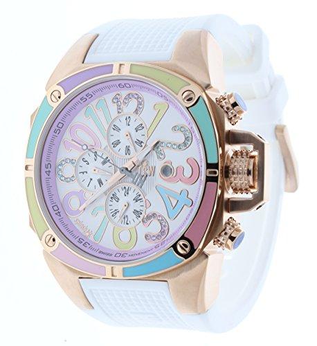 Technosport TS-200-38C Women's Watch Swarovski Multicolor Dial Markers White Silicone Strap Purple Dial
