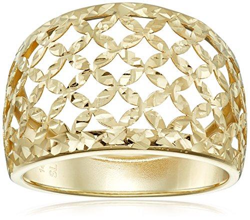 14k Yellow Gold Italian Filigree Dome Ring, Size (Italian Filigree)