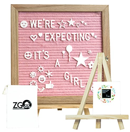 Pink Felt Letter Board with 678 Letters, Numbers, Emojis and Symbols,10X10 inches Changeable Oak Frame Message Board with Mount Hanger, Stand and Canvas Bags by ZG-Home(ZG1010P) by ZG- Home