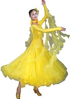 Robes de Concours de Danse de Salon pour Femmes Costume Performance Tulle/Strass Moderne Jupe de Danse de Valse Zumba Tango Tenue de Danse, 3XL Wangmei