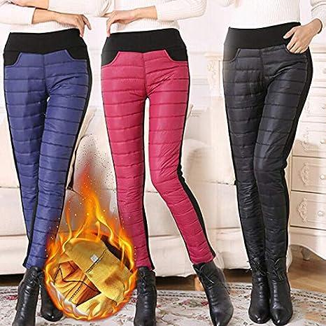 Women Trousers Winter High Waist Slim Warm Thick Duck Down Legging Pants Skinny