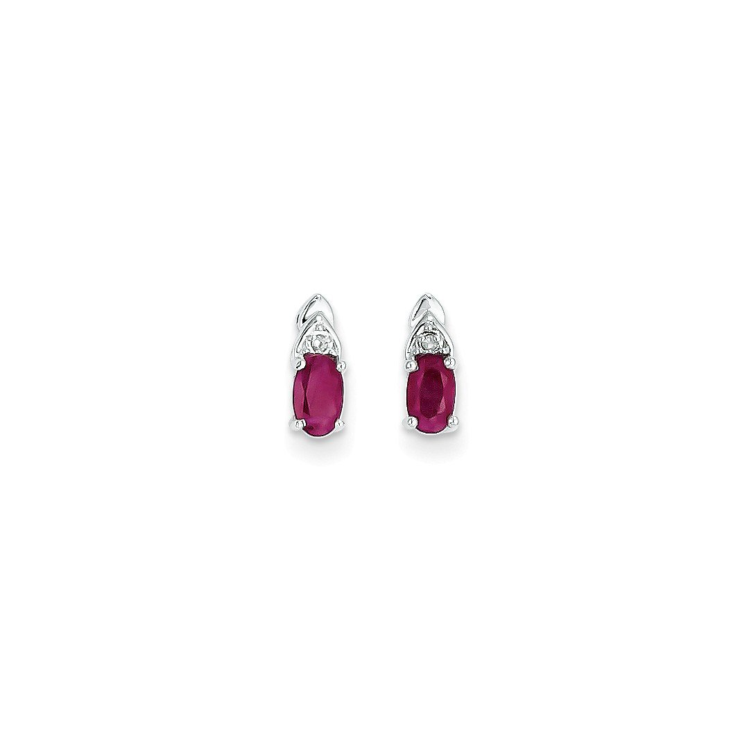 ICE CARATS 14k White Gold Red Ruby Diamond Post Stud Earrings Drop Dangle Birthstone July Set Style Fine Jewelry Gift Set For Women Heart
