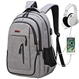 Travel Laptop Backpack, Business Laptop Backpacks USB Charging Port Headphone Interface,Water Resistant College School Computer Bag Women & Men Fits 15.6 inch Laptop Notebook(Gray)