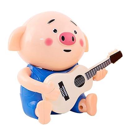 Homyl Juguete de Muñeca de Cerdo Toca Guitarra Eléctrica con Luces Sonidos Juego Musical para Bebés