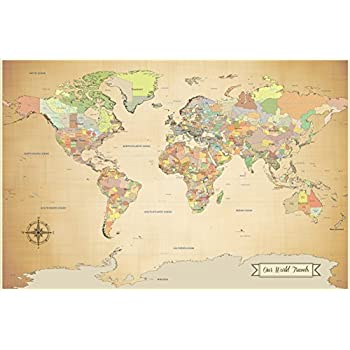 Amazon world map national geographic cork pinboard prints sale push pin world map travel map with pins paper anniversary 24 gumiabroncs Gallery