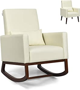 Giantex Rocking Chair Multifunctional High Back Chair W/Fabric Cushion,WoodenTapered and Rocking Legs Dual Purpose for Living Room,Bedroom,Office Upholstered Accent Chair(1, Beige)