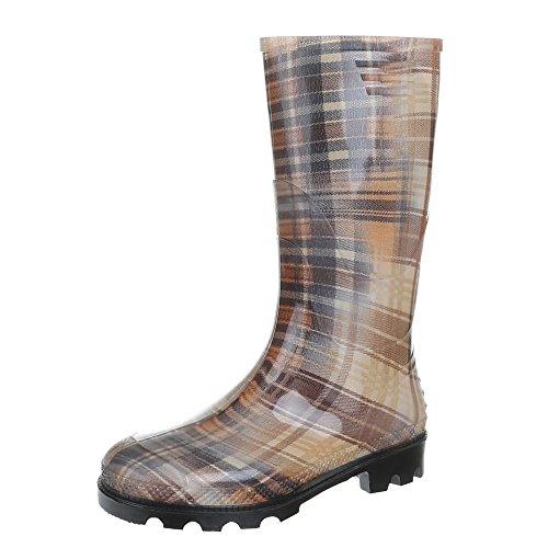 Ital-Design - Botas de Caucho para mujer Varios Colores - Braun Multi 17