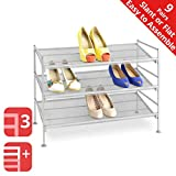 Seville Classics 3-Tier Stackable 9-Pair Multi-Position Iron Mesh Metal Frame Shoe Storage Rack Organizer, Perfect for Bedroom, Closet, Entryway, Dorm Room, Satin Pewter, 1-pack, Platinum