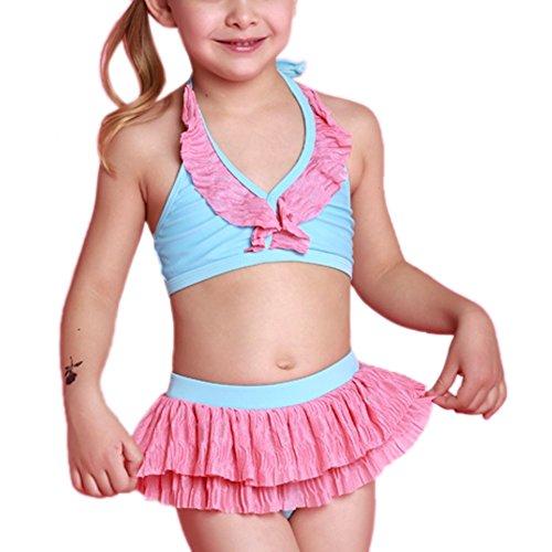 Perfashion Little Girls Halter Ruffle Swimming Bikini Set Pink 5 Years