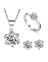 Uloveido Silver Color Bridal Wedding Jewelry Necklace Ring and Earrings Set White Gold Plated for Women with Cubic Zirconia T043