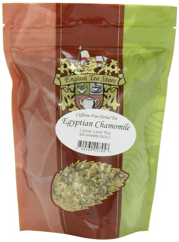 English Tea Store Loose Leaf, Egyptian Camomile Caffeine Free Herbal Tea Pouches, 2 Ounce