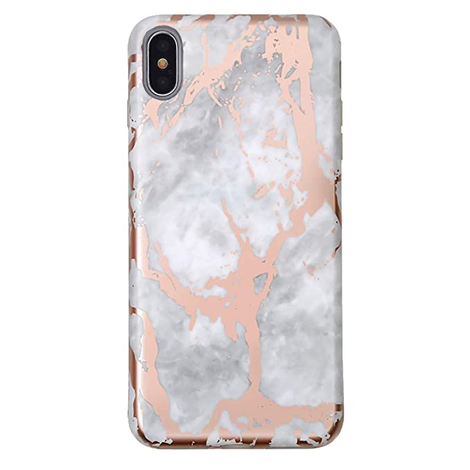 huge selection of 3adce de1cf Rose Gold Chrome White Marble iPhone Xs Max Case - Premium Protective Cover  - Cute Phone Cases for Girls & Women [Drop Test Certified]