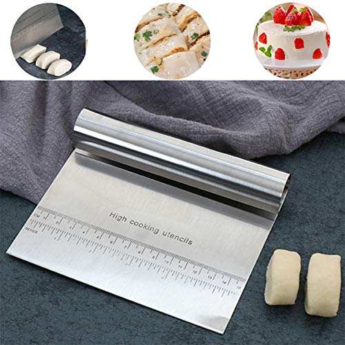 Pro Dough Pastry Scraper/Cutter/Chopper Stainless Steel Mirror Polished with Measuring Scale Multipurpose- Cake, Pizza Cutter - Pastry Bread Separator Scale Knife (1)