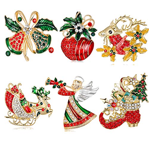 6pcs Christmas Brooch Pin and Santa Booch Pin Alloy with Crystal and Enamel Including Boot Bell Angel Santa Elk ()
