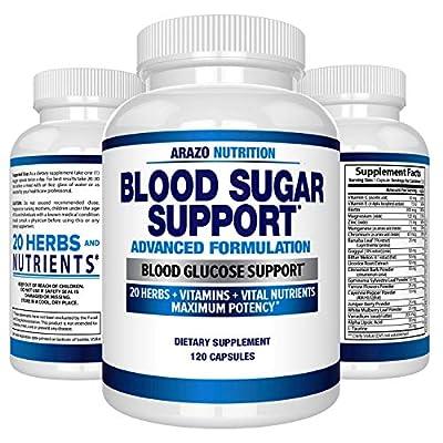 Blood Sugar Support Supplement - 20 HERBS & Multivitamin for Blood Sugar Control with Alpha Lipoic Acid & Cinnamon - 120 Pills - Arazo Nutrition