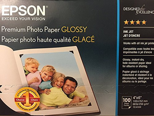 Epson FBA_s041727 Premium Glossy Photo Paper, 4X6 100