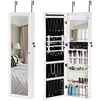 SONGMICS 18 LEDs Jewelry Cabinet Lockable Mirrored Wall Door Mounted Jewelry Armoire Organizer White UJJC85W
