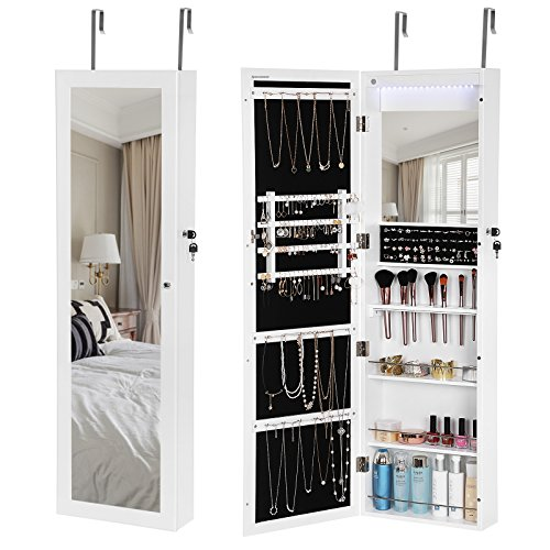 SONGMICS 18 LEDs Jewelry Cabinet Lockable Mirrored Wall Door Mounted Jewelry Armoire Organizer White UJJC85W (Mirrored Shelves Box)