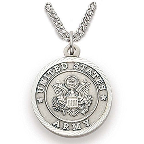 Sterling Silver United States Army Medal with Saint Michael Back, 3/4 Inch