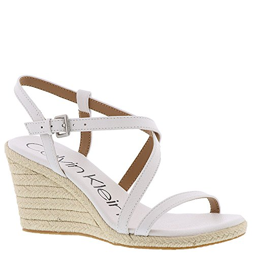 Calvin Klein Women's Bellemine Espadrille Wedge Sandal, Platinum White, 8.5 Medium US by Calvin Klein