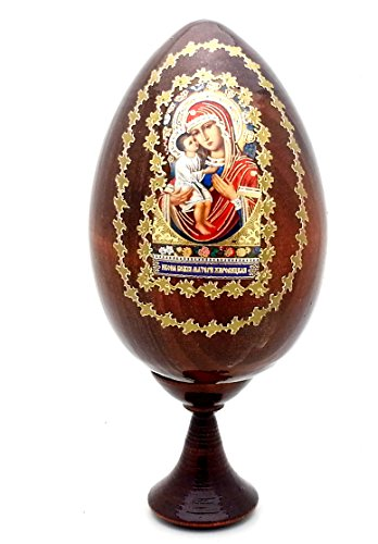 (Holy Mother RELIGIOUS Icon EGG with stand made in Russia WOOD)