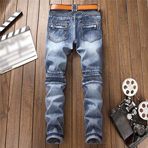 A Punce Jeans Stretch Dunkelblau Slim Uomo Giovane Pantalone Denim Fit Da Dritta Vintage Skinny In Gamba 0C7UPxqH