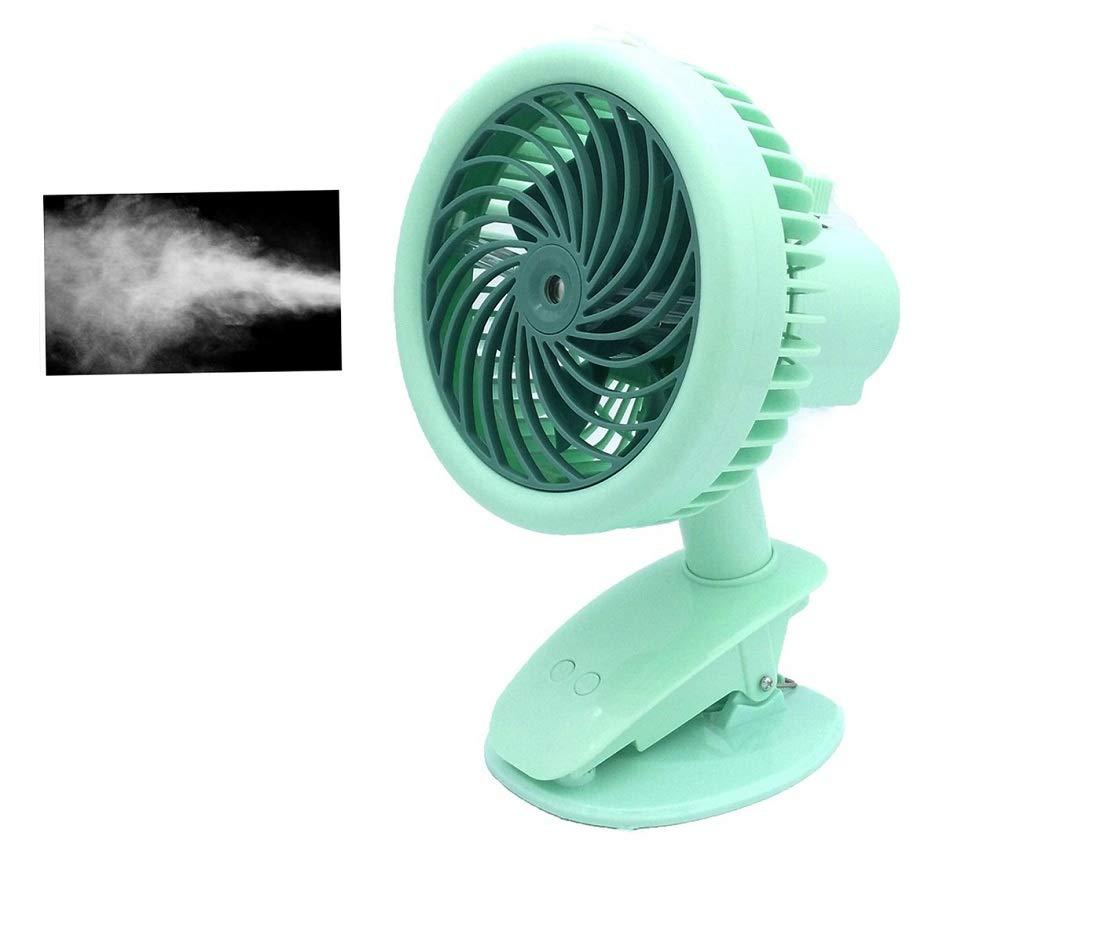 Esbuy Battery Clip On Fan,Auto Oscillation Water Misting Fan,Rechargeable Battery Stroller Fans,Portable Desk Fans for Hot Weather Summer Travel,Blue Green