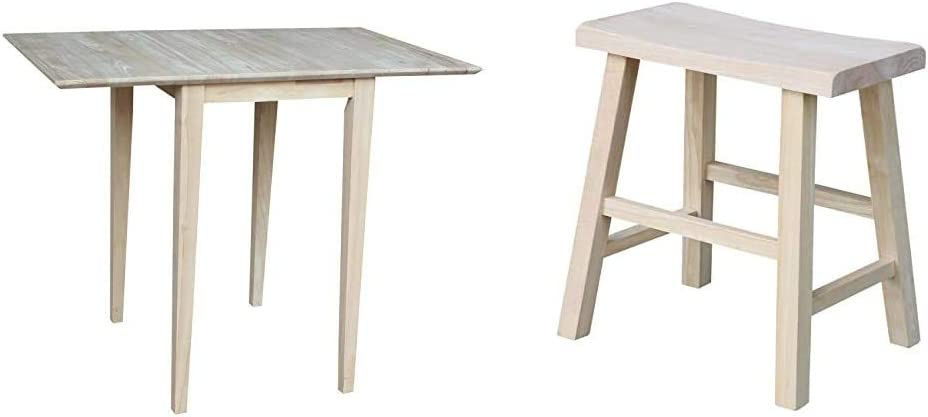 International Concepts Small Drop-Leaf Table, Unfinished & 18-Inch Saddle Seat Stool, Unfinished