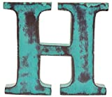 Shabby Chic Vintage Large 11 cm Wooden Letters Hand Finished Alphabets Free-Standing Or Wall Mounted D�cor for Weddings Baby Names Signs Unique Personalised Gift. (Teal, Letter H)