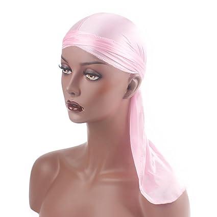 pinke Hombres Mujeres Silky Durag Sombrero de Turbante de Cola Larga  Elástico Gorro de Quimio Gorro f094ef29a3a