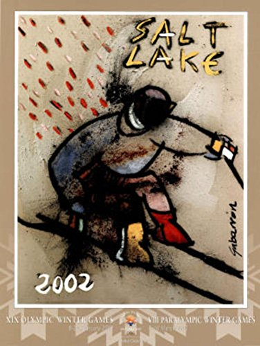 Salt Lake City 2002 Down Hill Skier Olympics Poster by Cristobal Gabarron 18 x 24in with Poster Hanger by SAI