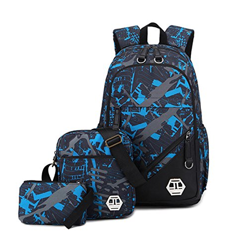 Mioy teenager school bag Canvas printing Backpack durable student bag Large Capacity 15 inch laptop daypack 3 pieces set (Blue)