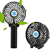 Portable Mini fan, Carryberry Handheld Electric Fans USB Foldable Multipurpose Outdoor Fan with Rechargeable ,Mini Handle Desktop Fan for Home Camping Outdoor and Travel - Black
