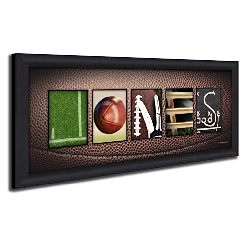 Framed Canvas - Personalized Football Name Art Decor print for man cave, boys room, or office! by Personal Prints