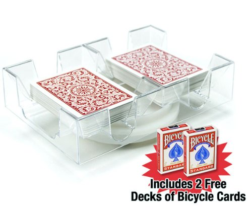 Brybelly 2 Deck Rotating-Revolving Card Tray with 2 Decks of Bicycle Cards (Card Plastic Holder Playing)