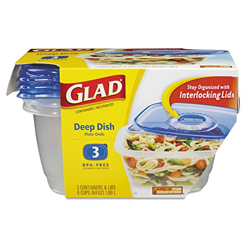 -- GladWare Deep Dish Food Storage Containers, 64 oz, 3/Pack