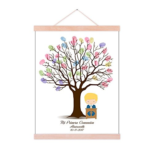 DIY Fingerprint Tree Baby Shower Sign in Guest Book with Wooden Hanger Personalized Commuion Baptism Birthday Gift for Boys Party Decorstions-60x80cm]()