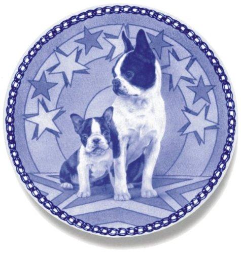 Skan Lekven Boston Terrier & Puppy: Danish Blue Porcelain Plate #3027
