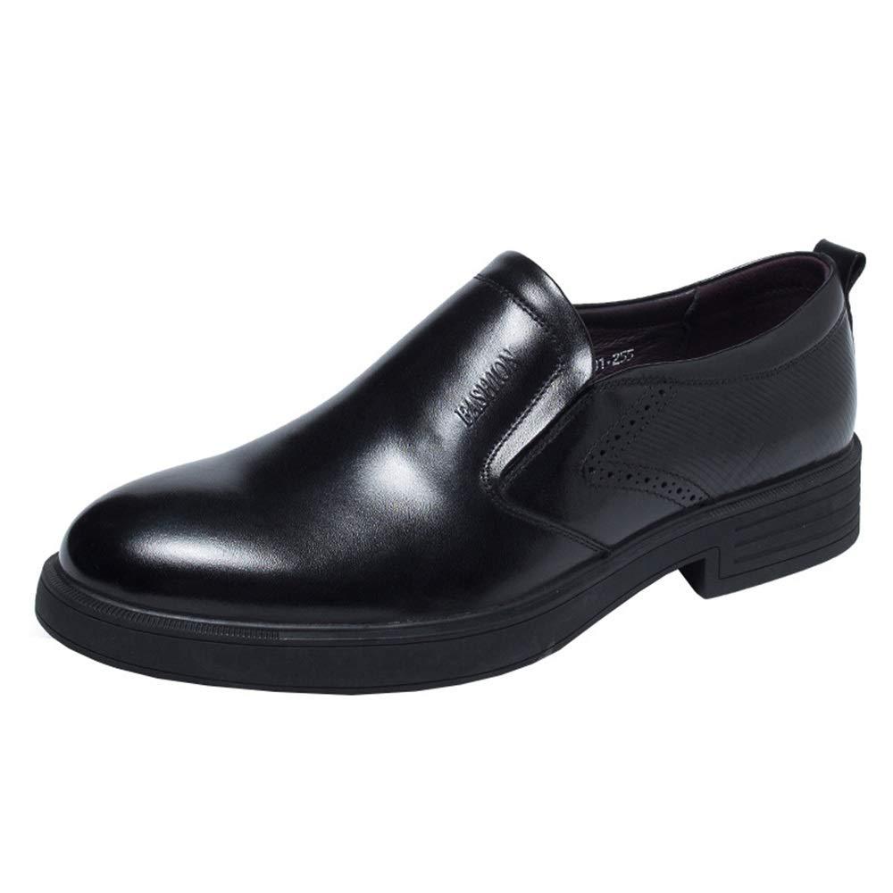 Qiusa Herren Business Business Business Casual Echtes Leder Schuhe Slip on Plain Toe Weiche Sohle Schuhe (Farbe   Schwarz, Größe   EU 43) 9e0b4e