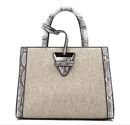 CCALBP181843 VogueZone009 Shopping Donna cucitura tracolla Grigio Dacron Contrasto Marrone Vestito Borse a zz1rw5