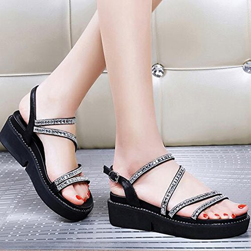 Color EU36 Women Fashion Black HAIZHEN UK3 Size Girl's for shoes Student Sandals 5 Summer Slippers Casual Sandals Women Female CN35 Flat Black Shoes ZU6zzBf