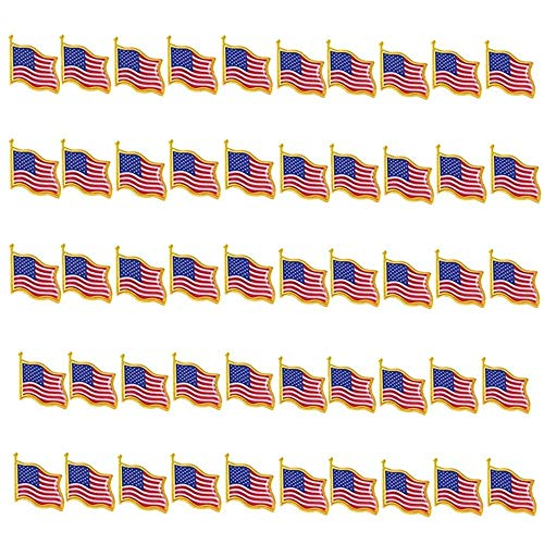 (TANG SONG 50PCS American Flag Waving Lapel Pins United States USA Badge Pin Patriotic Enamel Suit Jacket Lapel Pin)