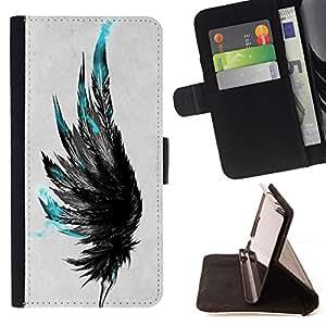 - Queen Pattern FOR Samsung Galaxy Core Prime /La identificaci????n del cr????dito ranuras para tarjetas tir????n de la caja Cartera de cuero cubie - teal black grey raven bird de