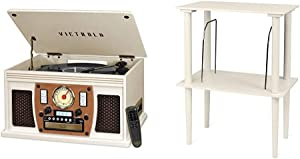 Victrola Navigator 8-in-1 Classic Bluetooth Record Player with USB Encoding and 3-Speed Turntable Bundle with Victrola Wooden Stand for Wooden Music Centers with Record Holder Shelf, White