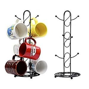 Metal Coffee Cup Holder Kitchen Coffee Mug Tree Countertop Tea Cups Holder Stand Black