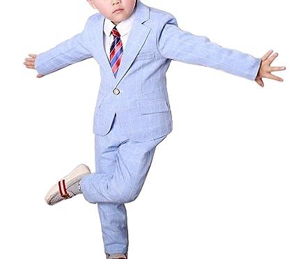862ca364fe1f YUFAN Boys Gray Blue Pink Plaid Suits Set 3 Pieces Jacket Pants Shirt  Spring Summer (