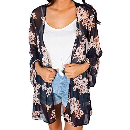 Smock Maxi (CUCUHAM Women Fashion Chiffon Flowe Coat Tops Suit Bikini Swimwear Beach Swimsuit Smock(Z-Black,L))