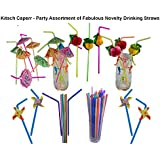 Kitsch, Drinking Straws Party Pack, featuring paper Honeycombe Luau straws, Umbrellas straws, Jumbo straws and Windmills straws - 104 pieces by Kitsch Drinking Straws